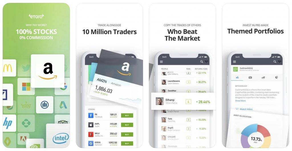 aandelen app, beleggingsapp, mobiel beleggen app etoro